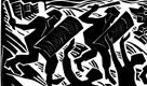 """"""" Paris Riot """"- second publication linocut"""