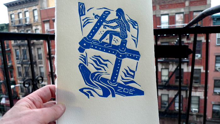 """ Zoé vogue sur son 4"",  linogravure - ""Zoé sails on her 4 "", linoleum cut"