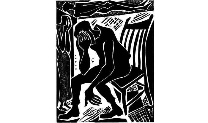 """A Ouargla, l'or noir est maudit "" - 2nd publication, linocut, Courrier International, Paris."