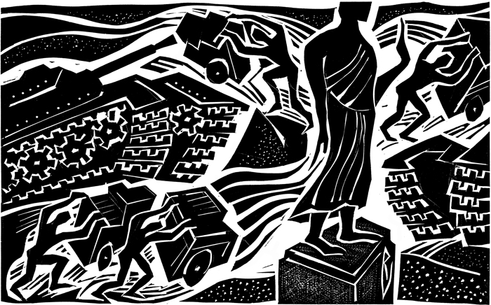 Thai Coup d'etat once again - linoleum cut - published 2006, NY Times.