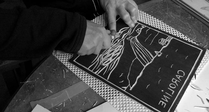 """""""Narrows blade"""" - woodcut workshop"""