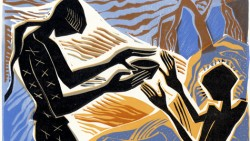"""VIVRE SUR LES RIVES DU PLUS GRAND FLEUVE DU MONDE"" - linocut, Courrier International."