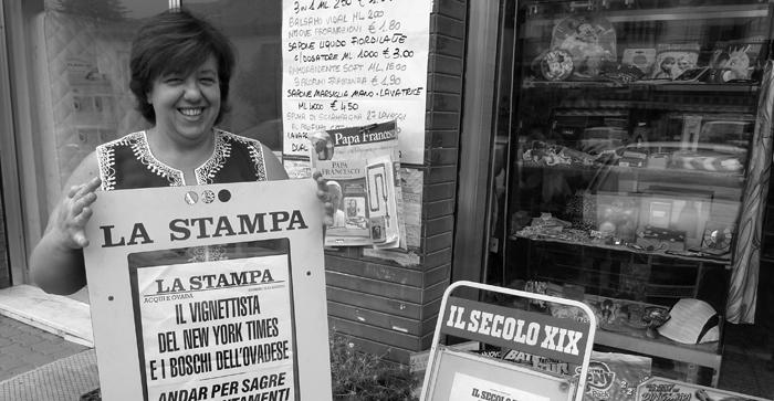 the lady that sales me la Stampa
