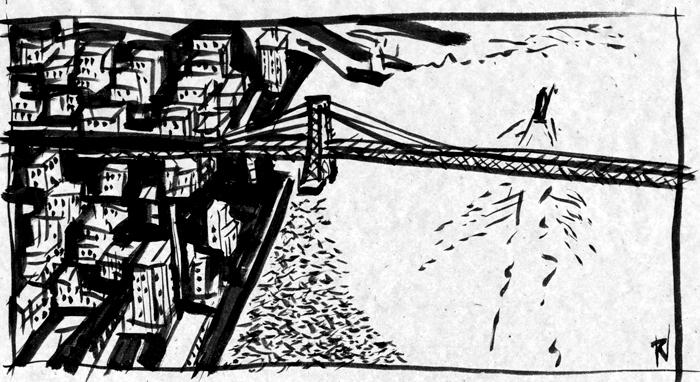 view over the Willimansburg Bridge