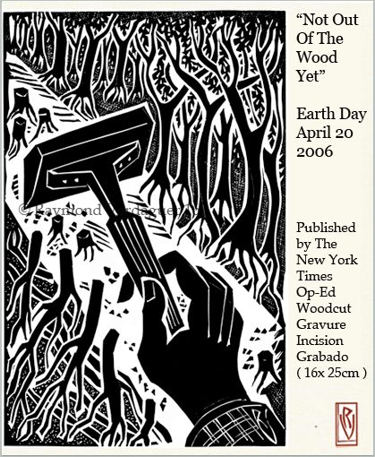 Earth Day 10 years ago – Published Linocut