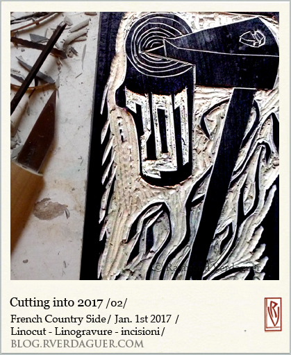 2017 cutting linoleum block in progress [ mirror image]