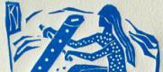 """"""" Zoé vogue sur son 4"""",  linogravure - """"Zoé sails on her 4 """", linoleum cut"""